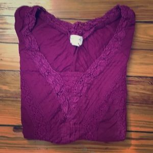 • Anthropologie Meadow Rue Magenta Lace Top •